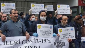 PTT çalışanlarından korona eylemi