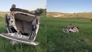 Kırşehir'de, hafif ticari araç şarampole devrildi