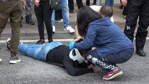 Köpekten korkan kadın motosikletten düşerek yaralandı