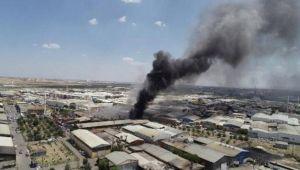 Konya'da, geri dönüşüm deposu ve palet atölyesinde yangın