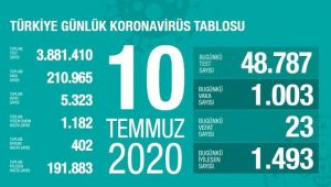 Türkiye 10 Temmuz vaka tablosu