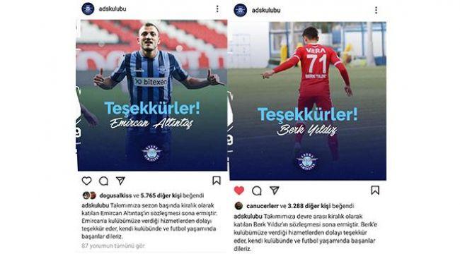 Adana Demirspor'da 2 oyuncu daha takımdan ayrıldı