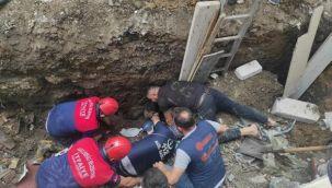 Toprak altında kalan işçiyi kurtarmak için çalışma başlatıldı