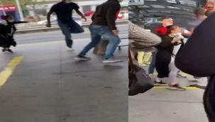 Avcılar'da metrobüs durağında 'beni ittin' kavgası