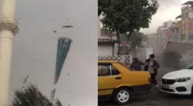 Fırtınada vatandaşlar ölümden saniyelerle kurtuldular